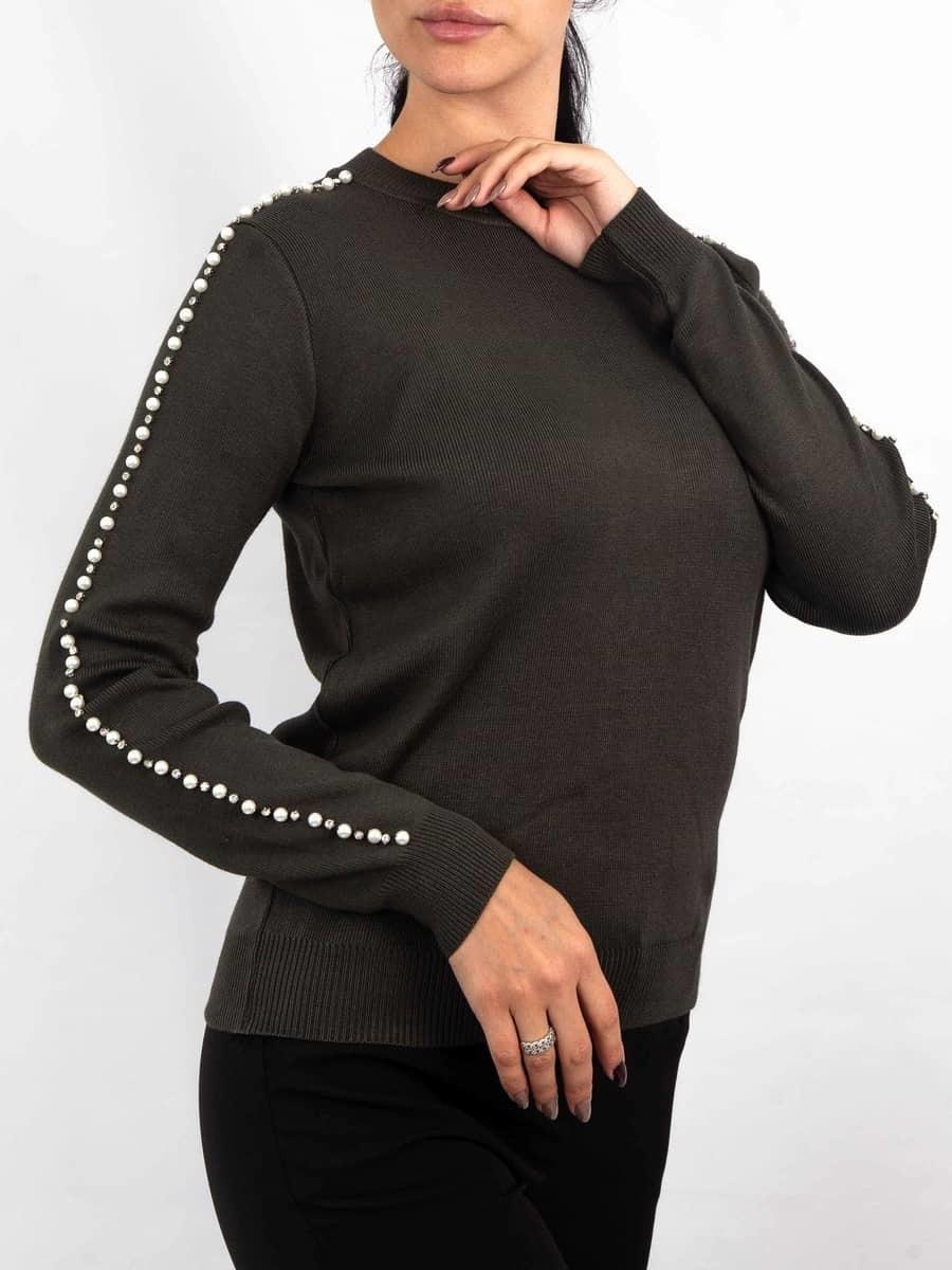 Moda Кофта с жемчугом на рукавах