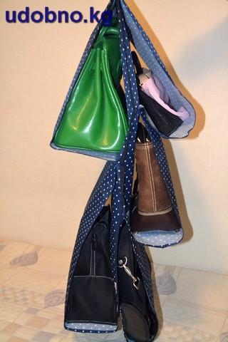 Подвесной органайзер для хранения женских сумок, 5 карманов (темно-синий в горошек)