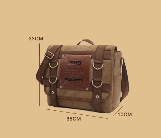 BAG390-2 Удобный мужской портфель из ткани цвета хаки с ремнем на плечо (вмещает А4) фото 06