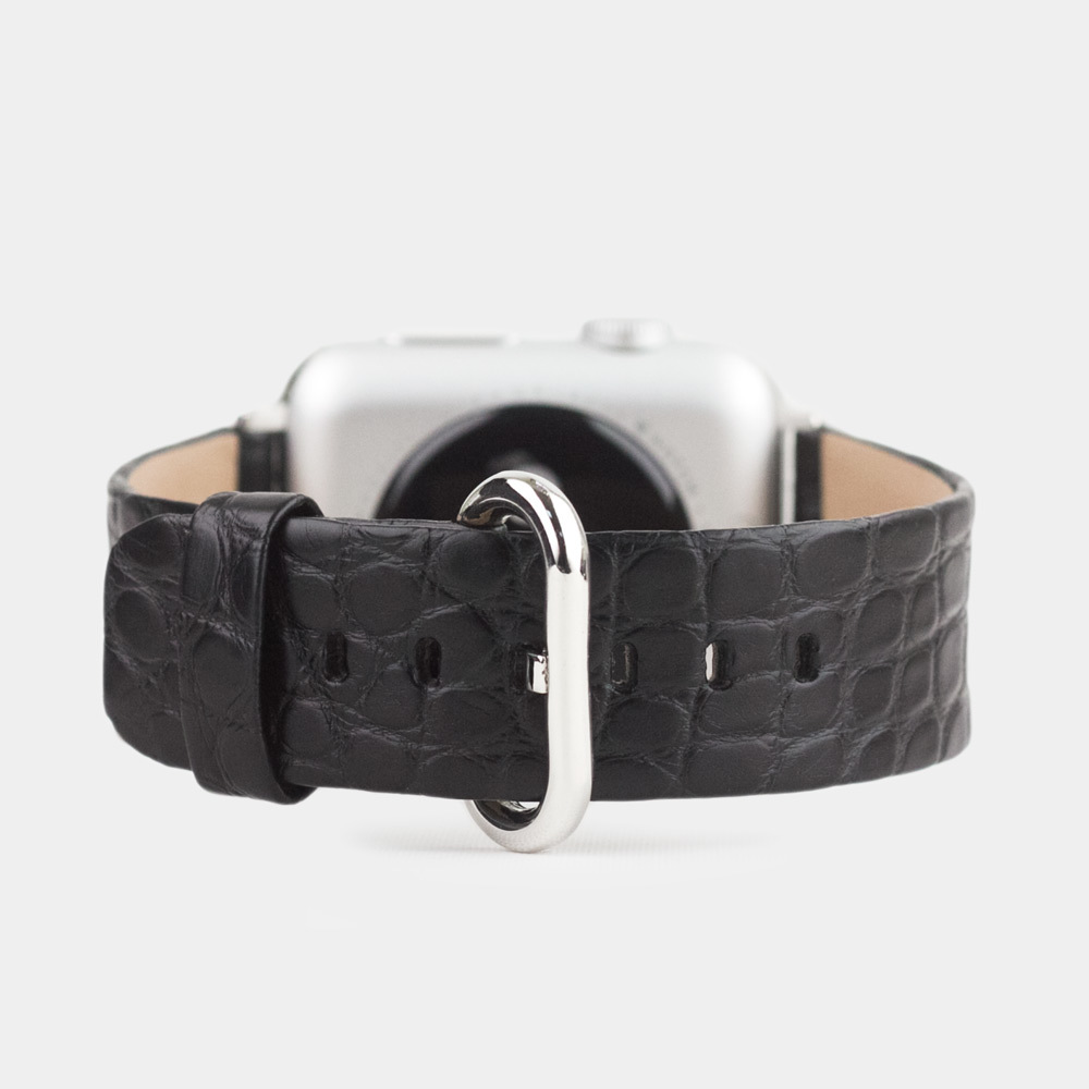 Ремешок для Apple Watch 38/40mm ST Classic из натуральной кожи аллигатора, черного цвета