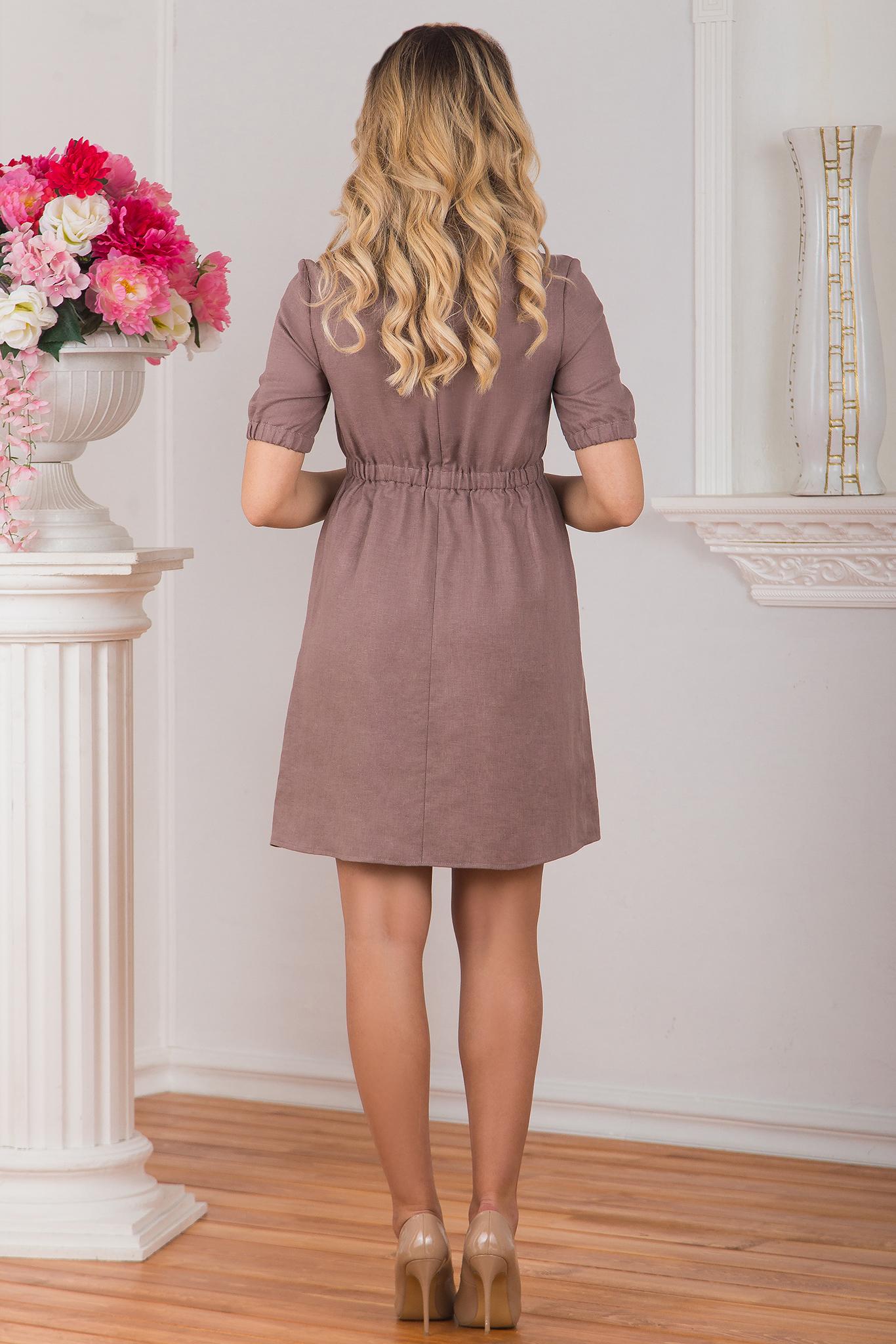 Льняное платье Какао вид сзади