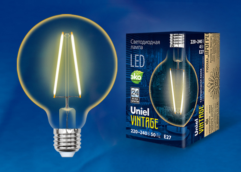 LED-G95-4W/GOLDEN/E27 GLV21GO Лампа светодиодная Vintage. Форма «шар», золотистая колба. Картон. ТМ Uniel