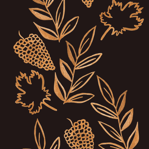 листья золотом на черном фоне