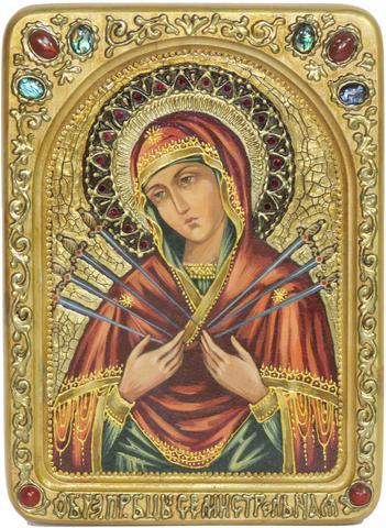 Живописная инкрустированная икона Образ Божией Матери Семистрельная 29х21см на кипарисе