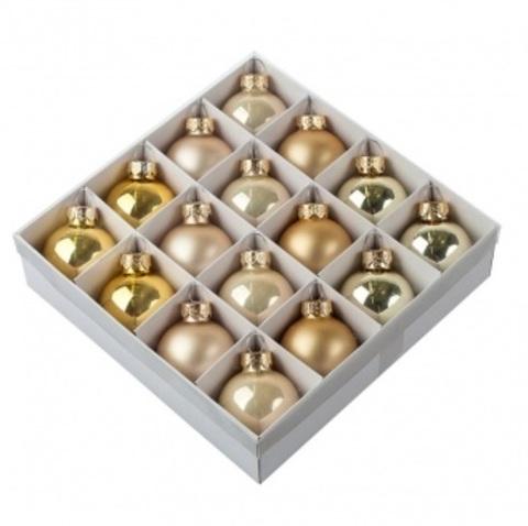 Набор шаров 16шт. (стекло), D4см, золотой микс