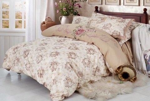 2-Спальное постельное белье сатин с вышивкой Эмелин