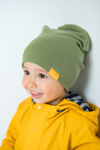детская шапка хлопковая гладкая оливковая