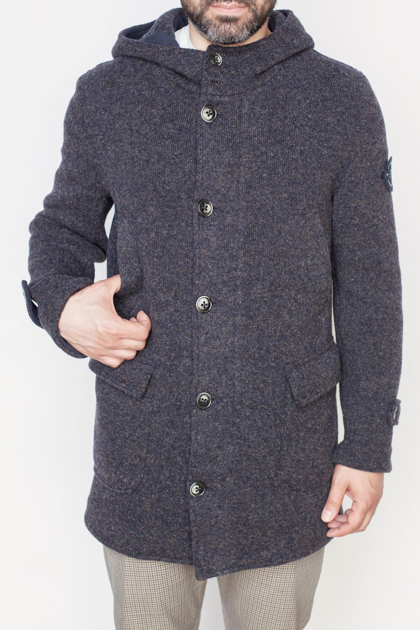 Повседневное серое шерстяное трикотажное пальто с капюшоном