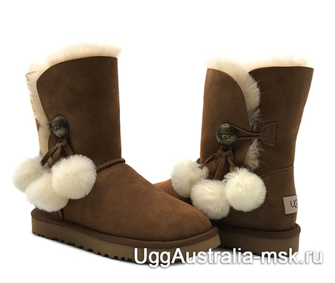 UGG Bailey Button Pom Brown