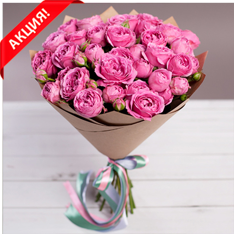 Букет 11 пионовидных кустовых роз Misty Bubbles