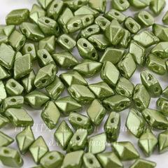 Бусина DiamonDuo mini Ромб с 2 отверстиями, 6х4 мм, оливковая