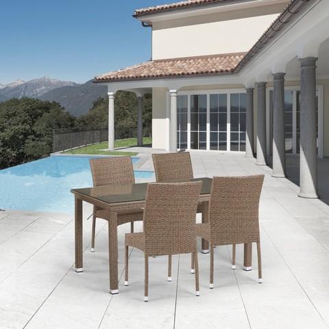 Комплект плетеной мебели T256B/Y380B-W56 Light Brown 4Pcs