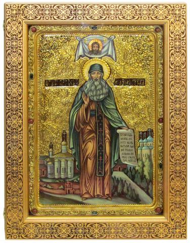 Большая Живописная икона Преподобный Максим Грек 42х29см на кипарисе в березовом киоте