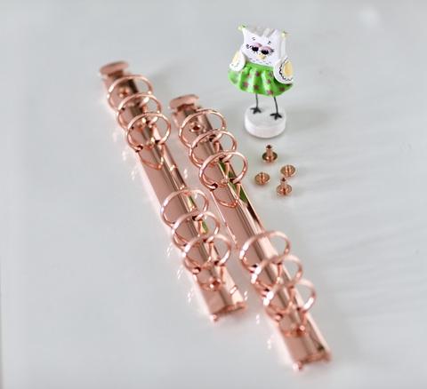 Кольцевой механизм на 6-ти кольцах, А5, с винтовым креплением -Розовое золото