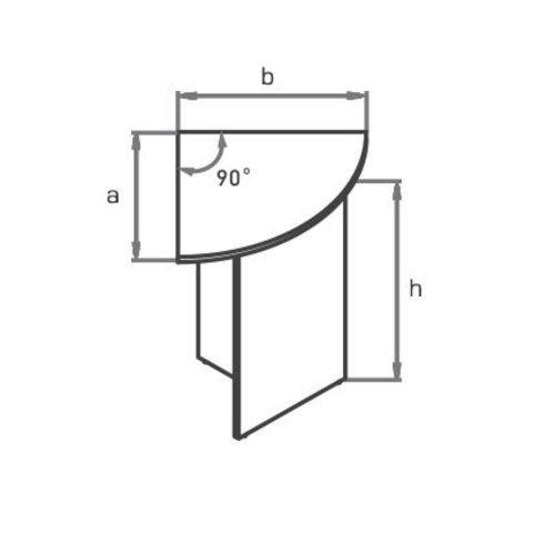 Стол приставной угловой закругленный (сектор 90°) МОНО-ЛЮКС