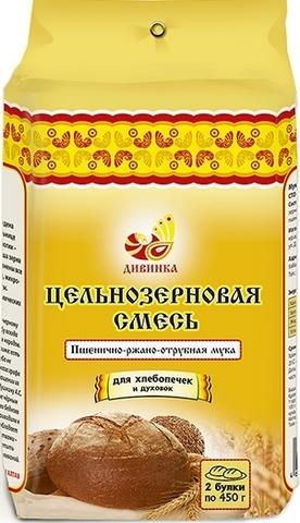 Смесь цельнозерновая, пшенично-ржано-отрубная, 700 гр. (Дивинка)