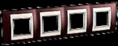 Рамка на 4 поста. Цвет Терракотовый/Белый. Schneider electric Unica Хамелеон. MGU6.008.851