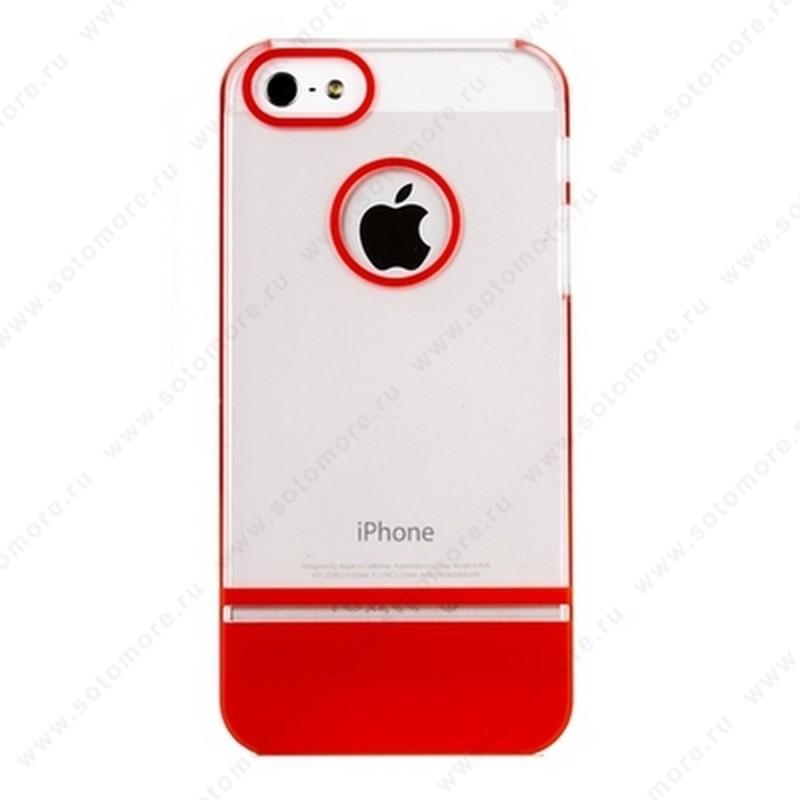 Накладка MOBILE 7 для iPhone SE/ 5s/ 5C/ 5 белый верх красный низ