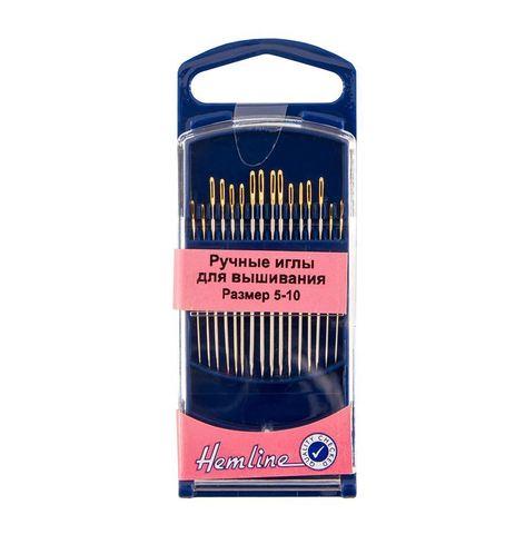Иглы для вышивания с острым кончиком в пластиковом контейнере № 5-10, 16шт (арт. 280G.510/G002)
