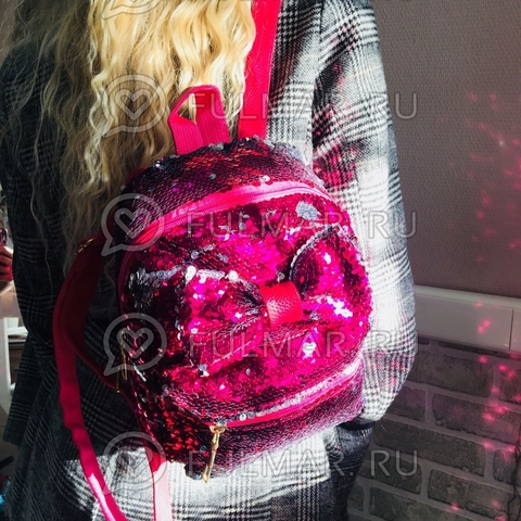 Рюкзак с пайетками и Бантом меняет цвет Фуксия-Серебристый