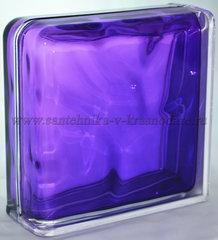 Завершающий стеклоблок фиолетовый волна окрашенный изнутри Vitrablok 19x19x8