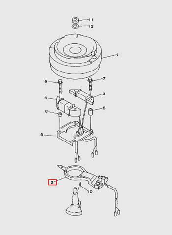 Датчик хола (катушка импульсная)  для лодочного мотора T15, OTH 9,9 SEA-PRO (8-2)