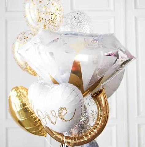 букет из шаров, шары с конфетти, шар в форме кольца, шары женщинам, шары гелиевые, доставка шаров.