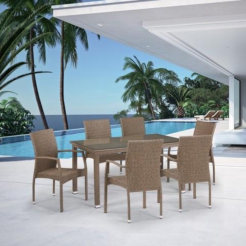 Комплект плетеной мебели T256B/Y379B-W56 Light Brown 6Pcs