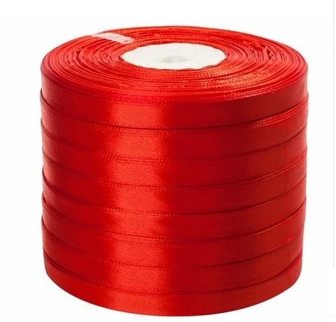 Лента атласная (размер: 10 мм х 50 ярд) Цвет: темно-оранжевая