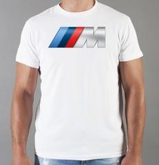 Футболка с принтом BMW М (БМВ) белая 007