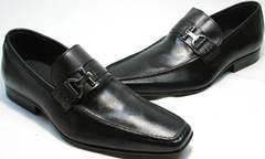 Красивые черные туфли лоферы с квадратным носом Mariner 4901 Black.