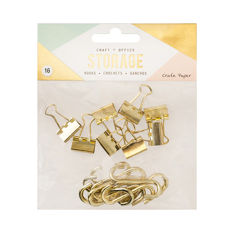 Набор зажимов и крючков для панели-органайзера- Wire System Hooks Crate Paper -Gold