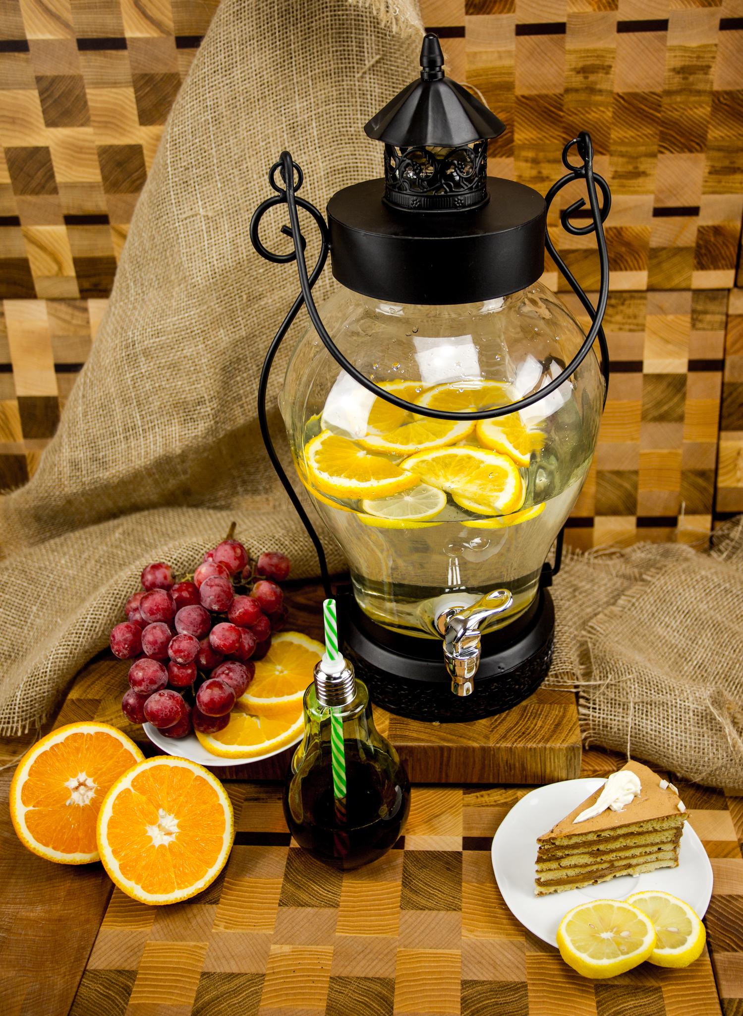 Стеклянный диспенсер для напитков «Кантри Фонарь», 5 литров диспенсер стеклянный с крышкой 28х22х32 см