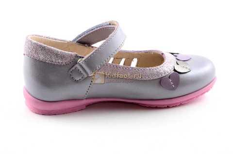 Туфли для девочек кожаные на липучке Тотто, цвет сиреневый, 10210B. Изображение 4 из 12.