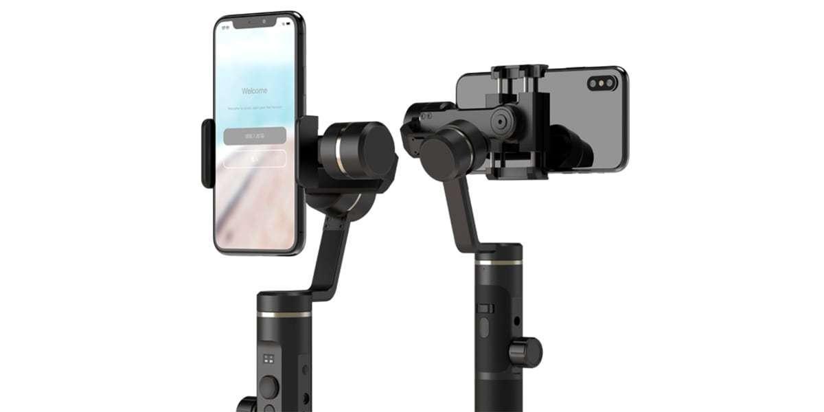 Стабилизатор трехосевой для смартфона Feiyu FY-SPG2 вид спереди и сзади