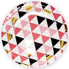 Тарелки (9''/23 см) Геометрия треугольников, Розовый, 6 шт.