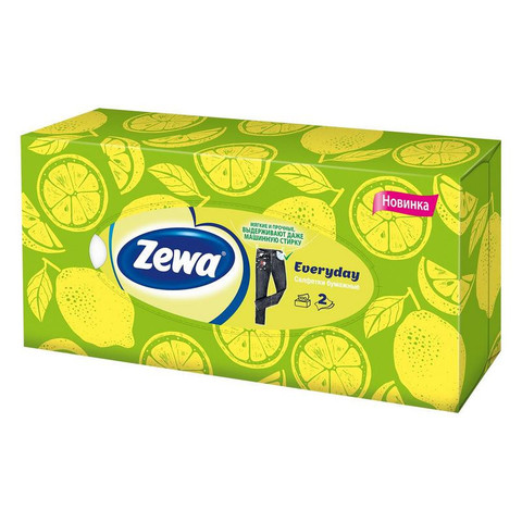 Салфетки косметические Zewa Everyday 2-слойные (100 штук в упаковке)