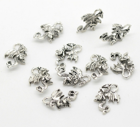 "Подвеска ""Дракон"" 21х14 мм (цвет - античное серебро) ()"