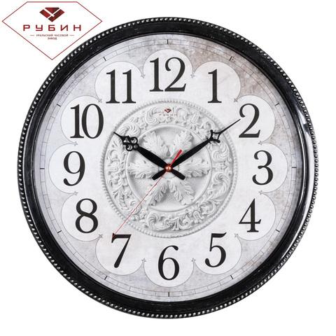 4844-001 (5) Часы настенные круг d=49,5см, корпус черный с серебром