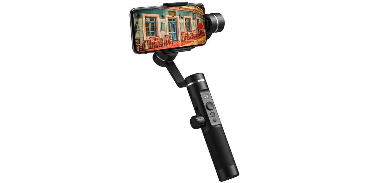 Стабилизатор трехосевой для смартфона Feiyu FY-SPG2 со смартфоном вид спереди