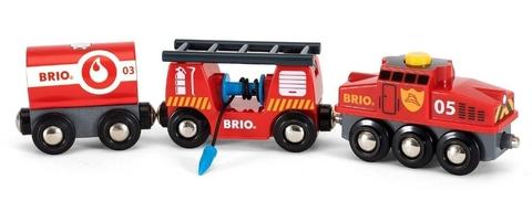 BRIO Пожарный поезд 2 вагона с откидной лестницей