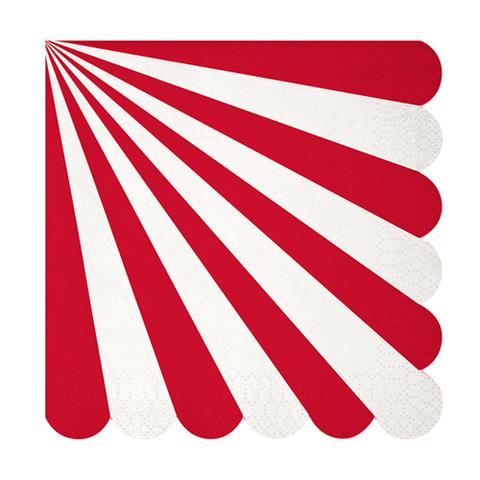 Салфетки в красную полоску, бол.
