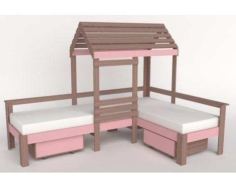 Кровать-домик АВАРА-4 со стенкой, крышей и ящиками левая