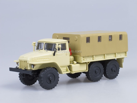 Ural-375D board with awning beige AutoHistory 1:43