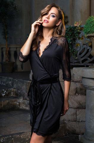 Халат женский с  кружевом   MIA-MIA  Elegance de lux ЭЛЕГАНС 12033