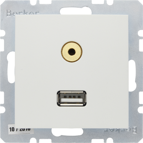 Розетка USB/3.5mm AUDIO. Цвет Полярная белизна. Berker (Беркер). S.1 / B.3 / B.7. 3315391909