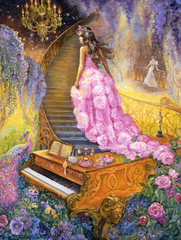 Алмазная Мозаика 40x50 Девушка в розовом платье и рояль