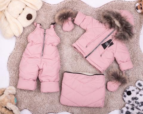 Зимний комбинезон тройка для новорожденных 0-2 года Look Gold с натуральным мехом Пушок розовый