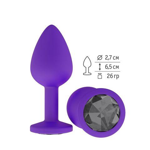 Фиолетовая силиконовая пробка с чёрным кристаллом - 7,3 см.