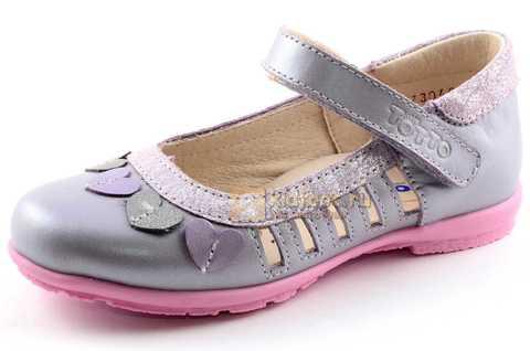 Туфли для девочек кожаные на липучке Тотто, цвет сиреневый, 10210B. Изображение 1 из 12.